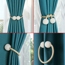 Tieback Ball-Rope Straps Curtain-Holder Room-Accessories Hanging Pearl Home-Decor Magnetic