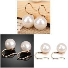 1 Pair Big Clear Pearl Earrings Simple Round White Pearl Earrings Jewelry Earrings For Women Gifts pair of gorgeous artificial pearl triangle earrings for women