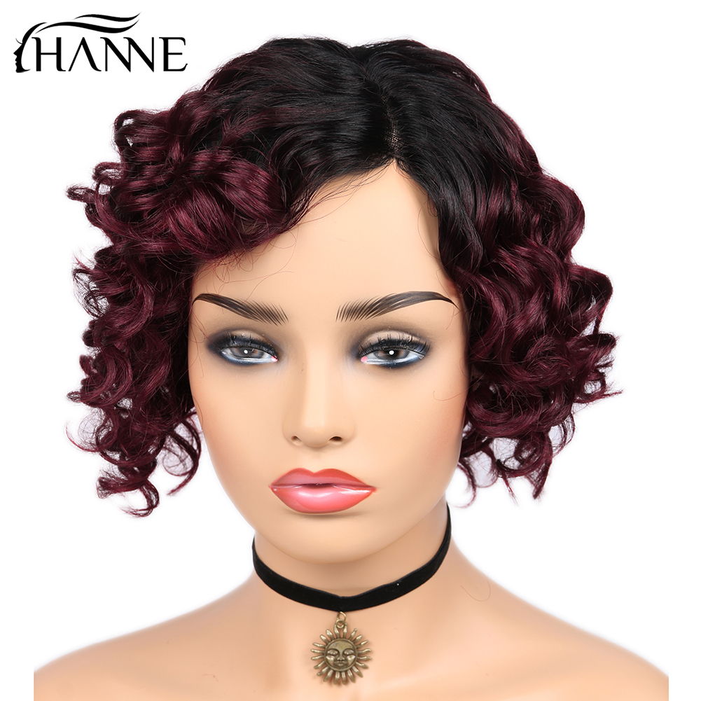 HANNE Hair Ombre Burgundy Lace Part Human Hair Wigs Loose Deep Wave Side Part Wig Glueless Brazilian Remy Hair Short Wavy Wig