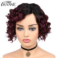 HANNE Hair Ombre Burgundy Lace Part Human Hair Wigs Loose De
