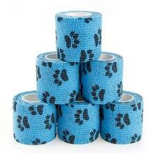 Bandagem elástica coesa bandagens vet envoltório autoadesivo atadura auto aderente envoltório não-tecido cães animais de estimação e entorses no tornozelo