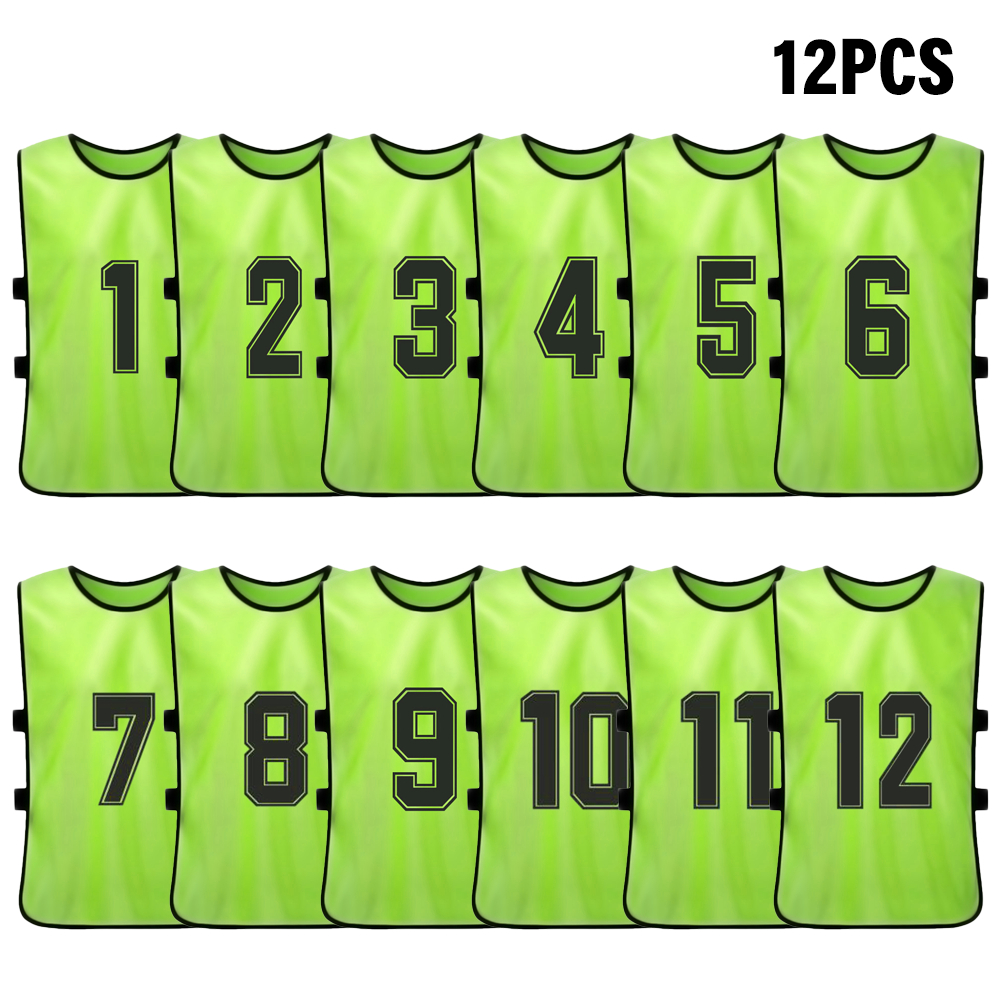 Jersey Practice-Vest Numbered Soccer-Team Pinnies Training Sports Adult Youth Bib 12PCS