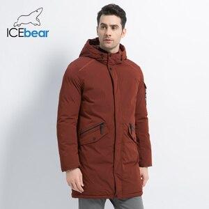 Image 2 - ICEbear 2019 yeni yüksek kalite kış ceket basit rahat ceket tasarım erkekler sıcak kapşonlu marka moda parkas ceketler MWD18718D