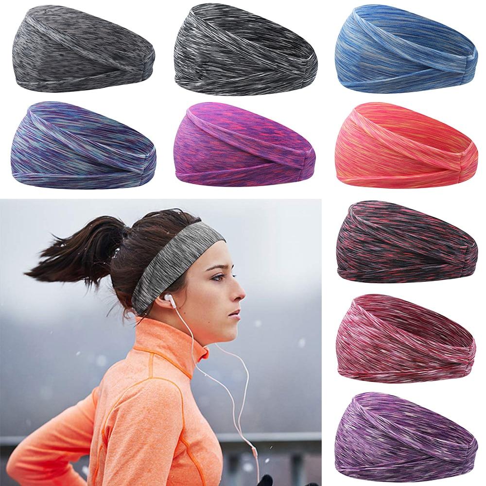 9 Цвета впитывания пота резинки для волос для мужчин для женщин эластичные Йога повязки на голову для бега тюрбан спортивные головные уборы ...