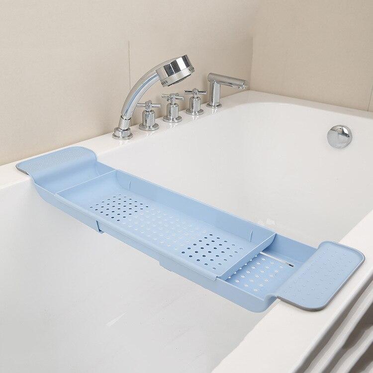 Выдвижной Пластиковая Полка для ванной комнаты Ванна Полка для ванной сушилка поднос для ванной кухонный Органайзер хранилище аксессуары - Цвет: blue