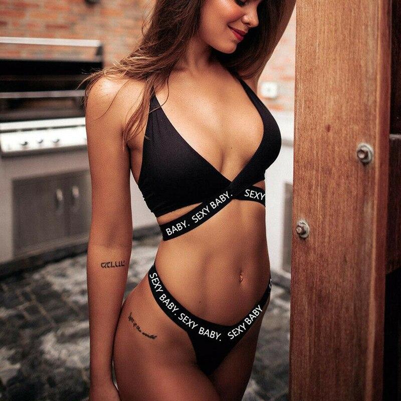 Sexy Bra Set G Thongs Bra Set Push Up Vest Top Women Underwear Panty Set Letter Cotton Plus Size Bra Lingerie Babydoll Sets
