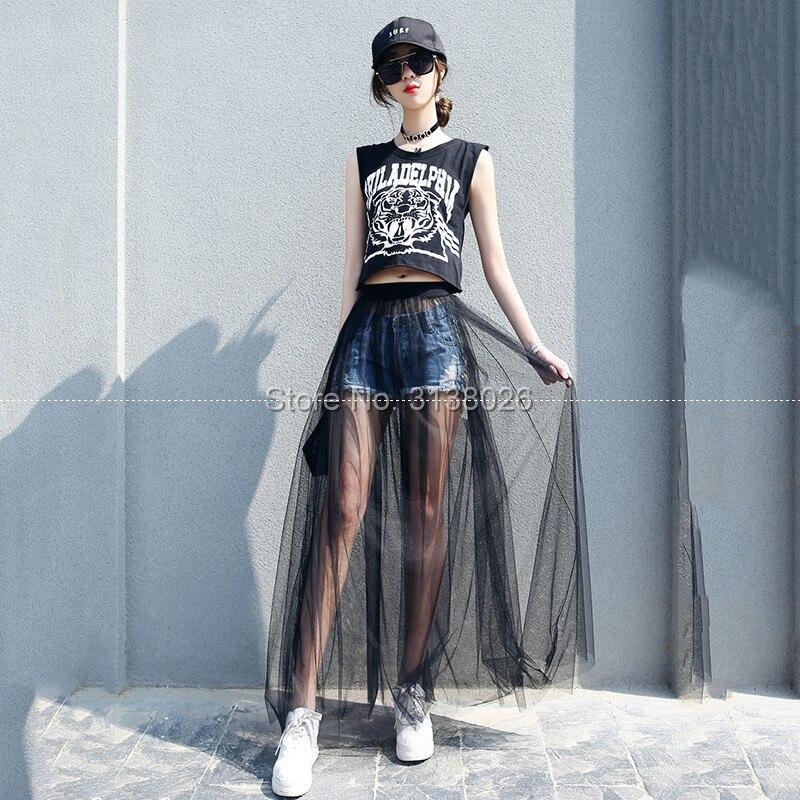 Lace Skirt Maxi-Wear Mesh Transparent Low-Waist Bohemian Black Long Sexy White Women