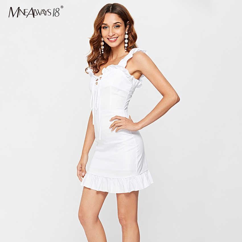 Mnealways18 לבן לפרוע Blackless מיני שמלת נשים ספגטי רצועת תחרה עד Bow שמלה קיצית סקסי ללא שרוולים נקבה קצר שמלות