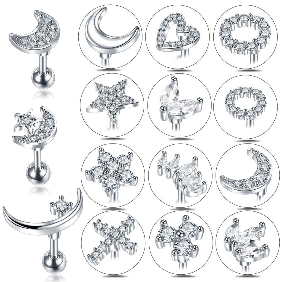 Серьги-гвоздики женские с фианитами, Ювелирное Украшение для уха с декором крест, звезда, луна, цветок, ушной хрусталь, пирсинг для уха, серьг...