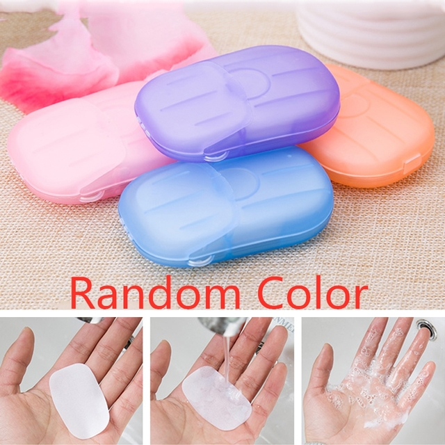 20 Pc/box Disposable Mini Travel Soap Paper Portable Boxed Foaming Paper Soap Washing Hand Bath Cleaning Scented Sheets TSLM1 4