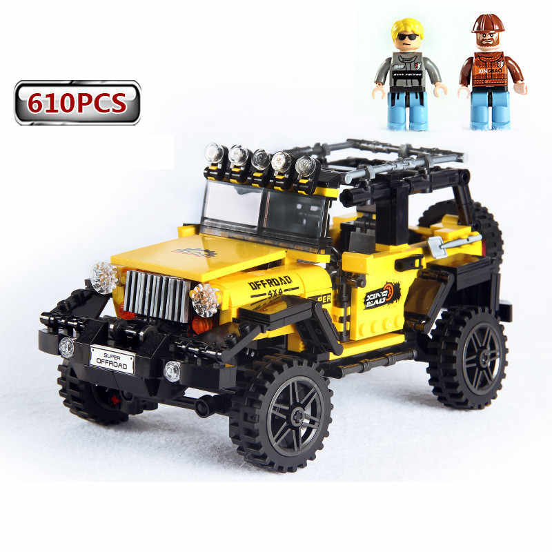 New 610pcs Offroad Adventure Set Legoed Model Building Blocks Car Series Bricks Toys For Kids Educational Kids Gifts