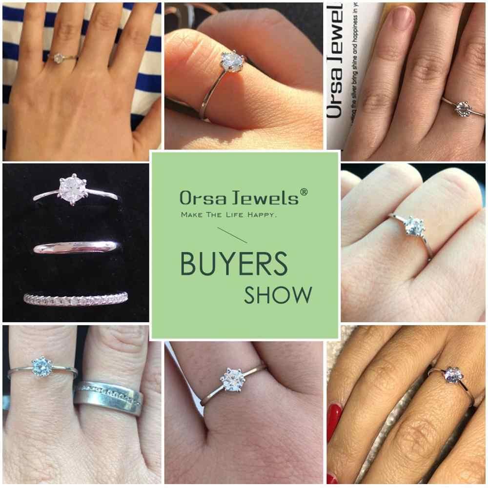 ORSA JEWELS จริง 925 เงินสเตอร์ลิงสตรีแหวน Solitaire Cubic Zircon หญิงแหวนแฟชั่นเครื่องประดับสำหรับงานปาร์ตี้ใดๆ SR116