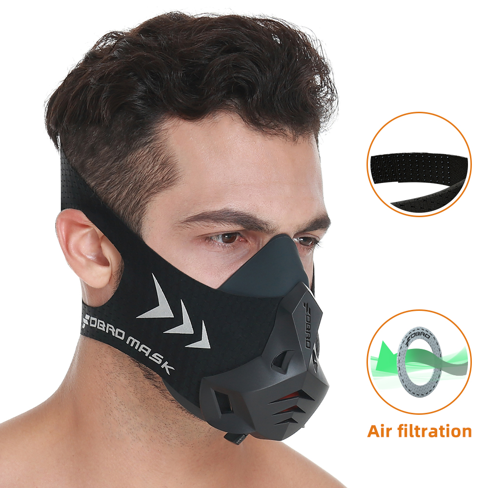 FDBRO Air Filter Cotton Can Dust Proof Cycling Sport Mask High Altitude Protective Breathing Trainer Training Running Mask 3.0