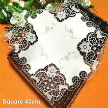 Fashion Square Hollow Water Soluble Embroidery Delicate Placemat Balcony Coffee Table Mat Coaster Vase Pad Wedding Decoration