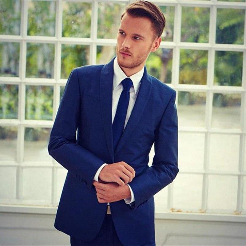 Simple Elegant Slim Mens Formal Suits Shawl Lapel Formal Wedding Suit For Bridegroom Groomsmen Party Dress (Jacket+Pant)