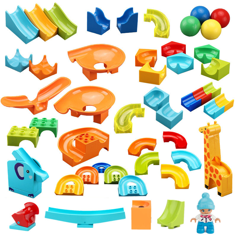Crazy Fun Rolling Ball Building Blocks Marble Run Bricks Parts Accessories Compatible With Duploed DIY Toys