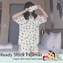 Vrouwen Nachtkleding Katoenen Pyjama Set Met Oogmasker Crayon Shin Chan Dezelfde Stijl Korte Mouw Casual Nachtkleding Pyjama Vrouwen