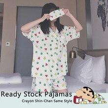 Women Sleepwear Cotton Pajama Set with Eye Mask Crayon Shin Chan Same Style Short Sleeve Casual Nightwear Pyjamas Women