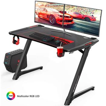 47 Inch Z-Shape Ergonomic Gaming Desk with RGB LED Light E-sports Computer Table Desk Workstation with Headphone Rack &Mouse Pad
