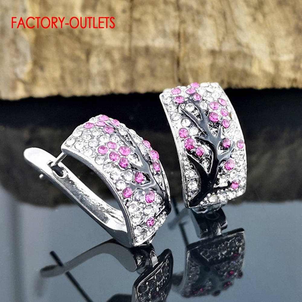 Romantyczny prawdziwe 925 Sterling srebrne kolczyki koła dla kobiet elegancka moda kwiat śliwy kolczyki Wedding Party biżuteria