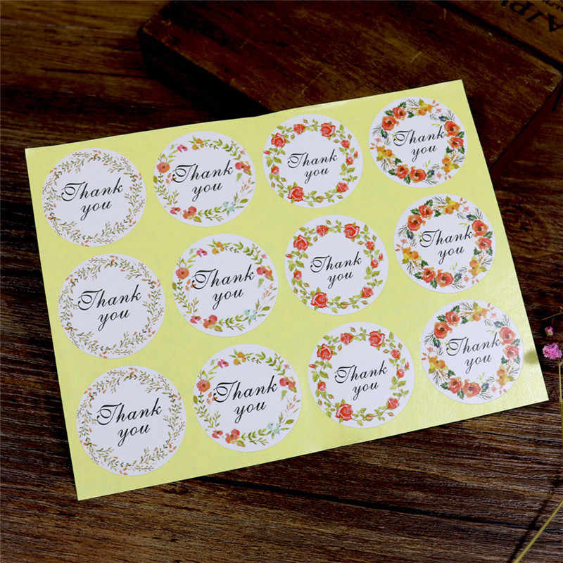 12pcs/sheet Fresh Thank You 4-color Flower Sealing Sticker Floral Hoop Sticker Adhesive Sticker New Arrival Hot Sell