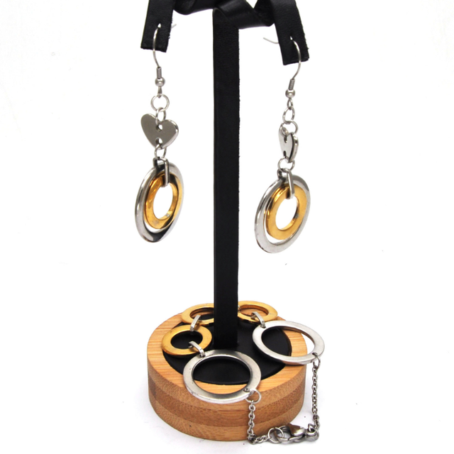 Circle Round jewelry set, Earring Necklace Pendant DUOCAIX 3