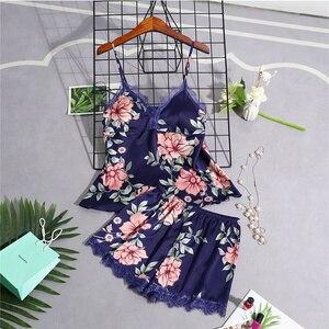 Image 5 - Pyjamas Frauen Pyjama Setzt Frauen Nachtwäsche Spitze Sommer Babydolls Frauen Pyjamas Nacht Anzug Seide Wie Floral Dessous Nachtwäsche