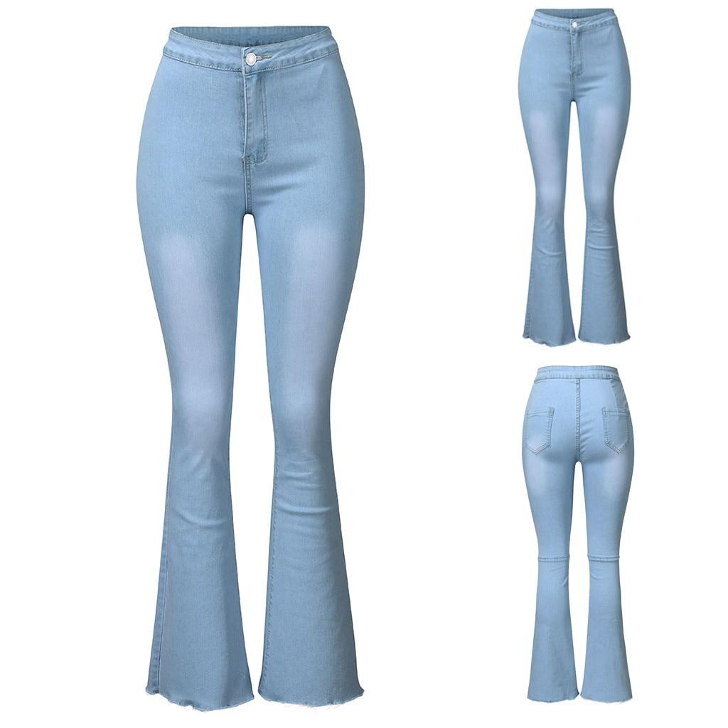 Women's Jeans Casual Slim Stretchy Denim Waist Jeans Oversized Long Flare Pants Light Blue Trousers for Women джинсы женские