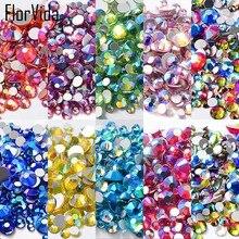 FlorVida 10 Colors Mixes AB Rhinestone Nail Charms 3D Art Decoration Beauty Rhinestones Nails Accessories Bling
