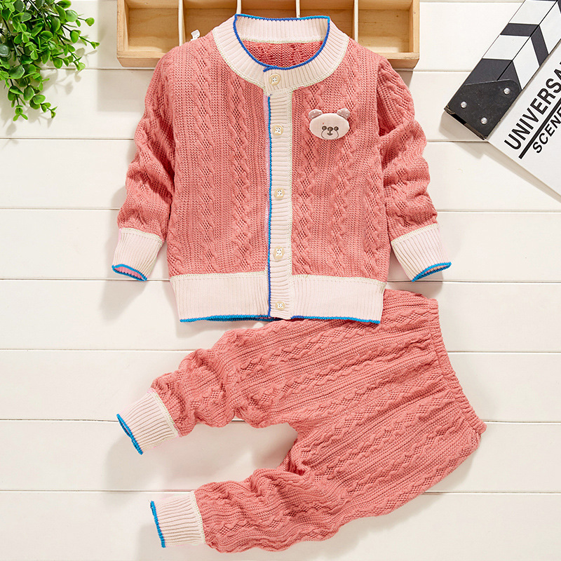 Baby Clothes Knit Sweater Autumn Winter Cable School Uniform Baby Sets  Casual Classic Single Breasted Boy Girl Outfits 6