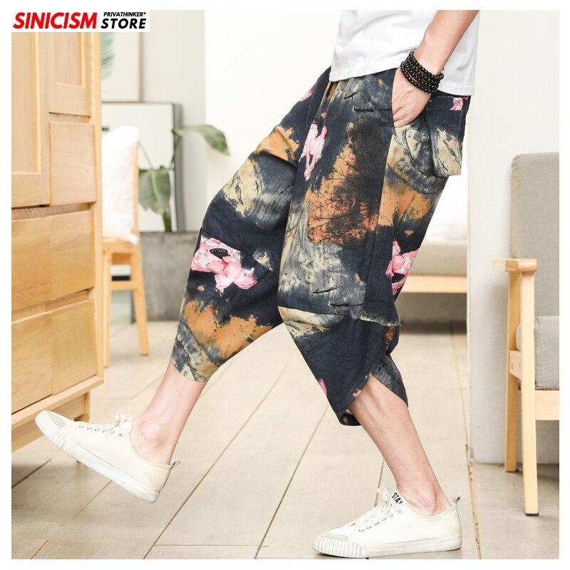 Sinicism Store Men Chinese Style Print Harem Pants Mens 2020 Cotton Linen Loose Trousers Male 5XL Japan Calf-length Pants Bottom