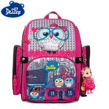 цена на Delune Children Schoolbags Backpack For Girls Cartoon Pattern Backpacks Orthopedic School Bags Student Satchel Mochila Infantil