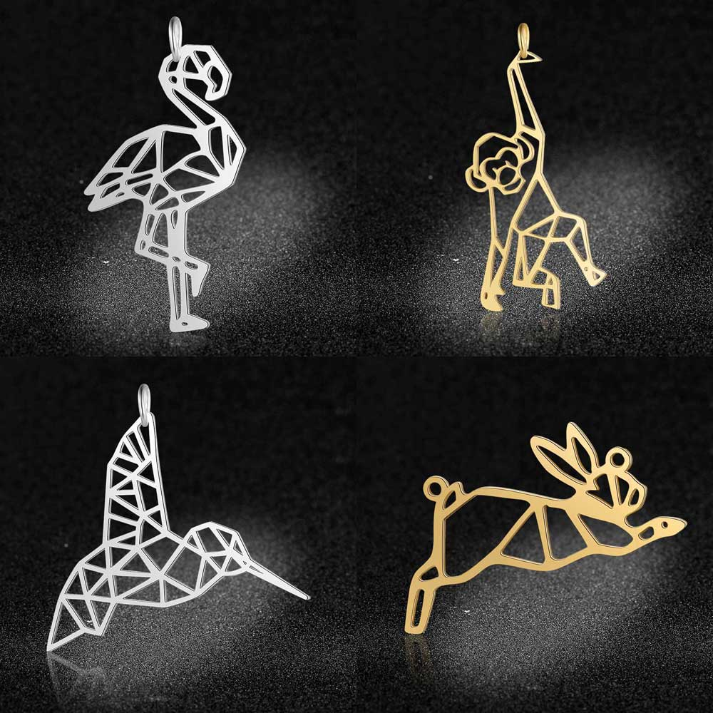 5pcs/lot l100% Stainless Steel Humming Bird Flamingo Monkey Rabbit DIY Connector Charm Pendants Wholesale DIY Jewelry Charms
