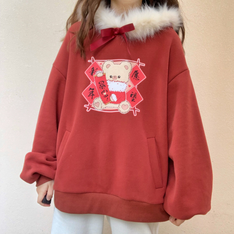 Lolita Kawaii Women Fur Hooded Sweatshirt Winter New Year Clothing Japanese Cute Bear Ears Red Hoodie Female Thicken Pullover