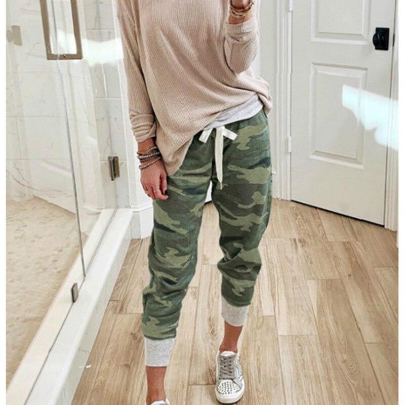 Спортивные штаны размера плюс для женщин Mujer Pantalones с камуфляжным принтом, повседневные свободные спортивные штаны с завязками для бега, ули...