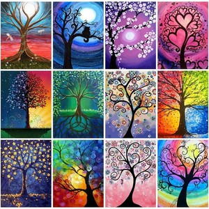 MTEN Paint With Diamonds Scenery Tree Diamond Painting Full Square Landscape Picture Of Rhinestone Mosaic Flowers Decor Home