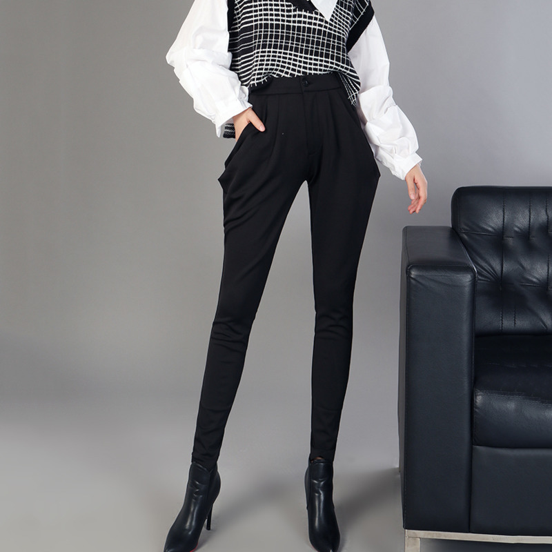 LANMREM 2020 New Arrival Spring Women High Waist Zipper Button Fly Pencil Pants Female Solid Color Trousers TA604