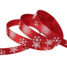"3/8 ""(10mm) 빨간색 인쇄 눈송이 새틴 리본 크리스마스 선물 리본"