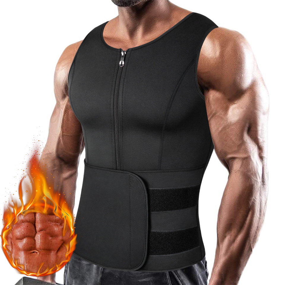 Men Waist Trainer Vest Corset Sweat Sauna Suit Slimming Shirt Body Shaper Weight Loss Workout Tank Tops for Muscle Bodybuilding