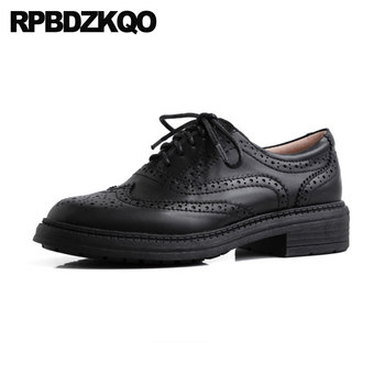 Round Toe Designer Shoes China Women Ladies Oxfords 2021 Lace Up Brogue Brown Genuine Leather Fashion Black Chinese Low Heel