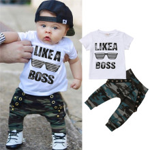 Nowonarodzone dziecko chłopcy ubrania maluch dzieci z krótkim rękawem list koszulka spodnie kamuflażowe 2 sztuk stroje zestaw ubrania dla dzieci