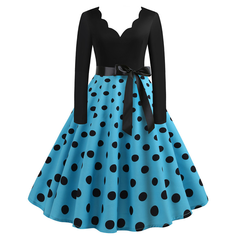 Women Long Sleeve Winter Vintage Dresses Sexy Black Music Note Print V-neck Rockabilly Pin up Party Dress Vestidos Plus size 545