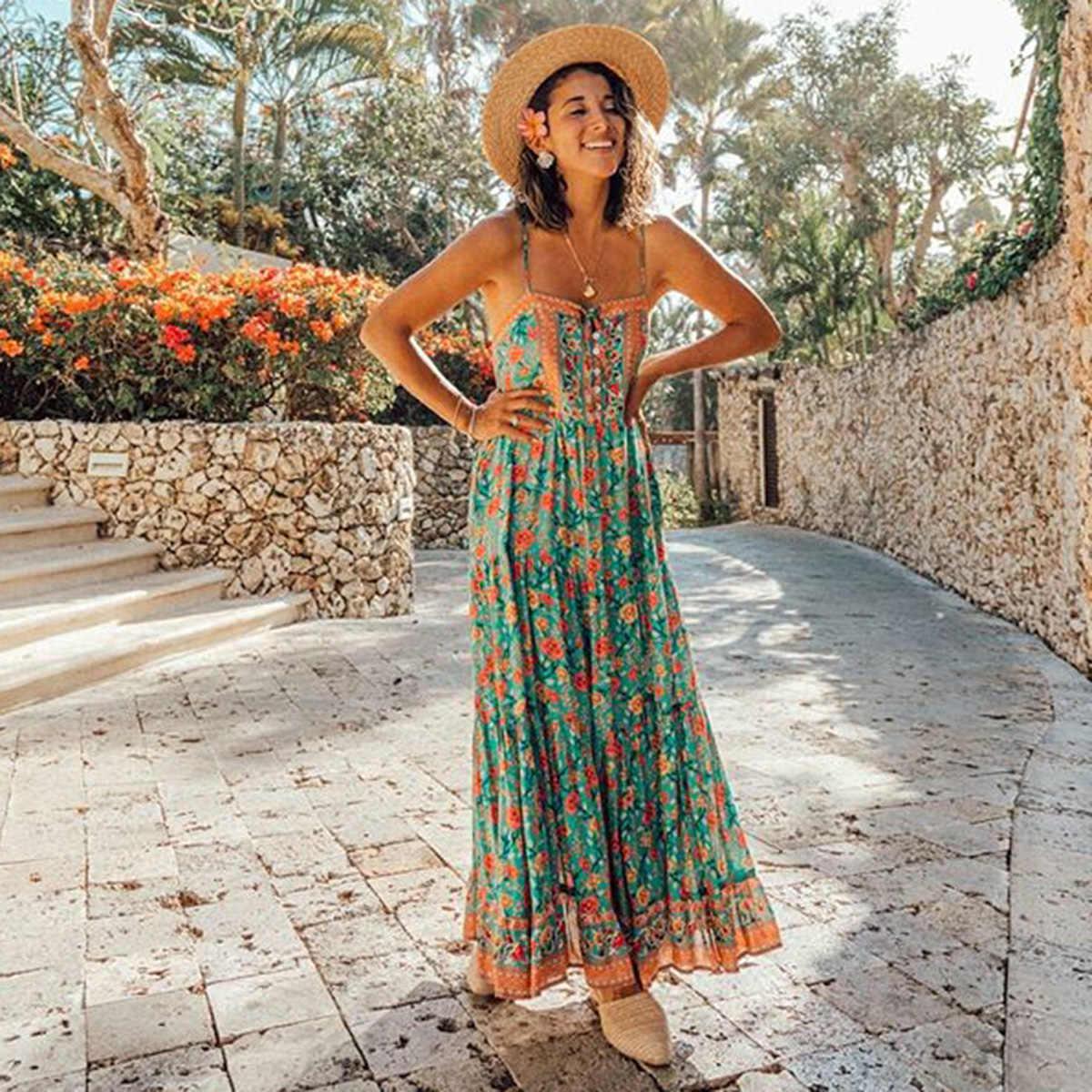 Jastie летнее платье без рукавов Женская одежда 2019 элегантные длинные платья с цветочным принтом Бохо Макси платье пляжное сексуальное платье на бретелях