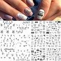 12 видов конструкций русские буквы сексуальная девушка дизайн ногтей стикер набор черная татуировка в форме листа Сделай Сам передача слайд...