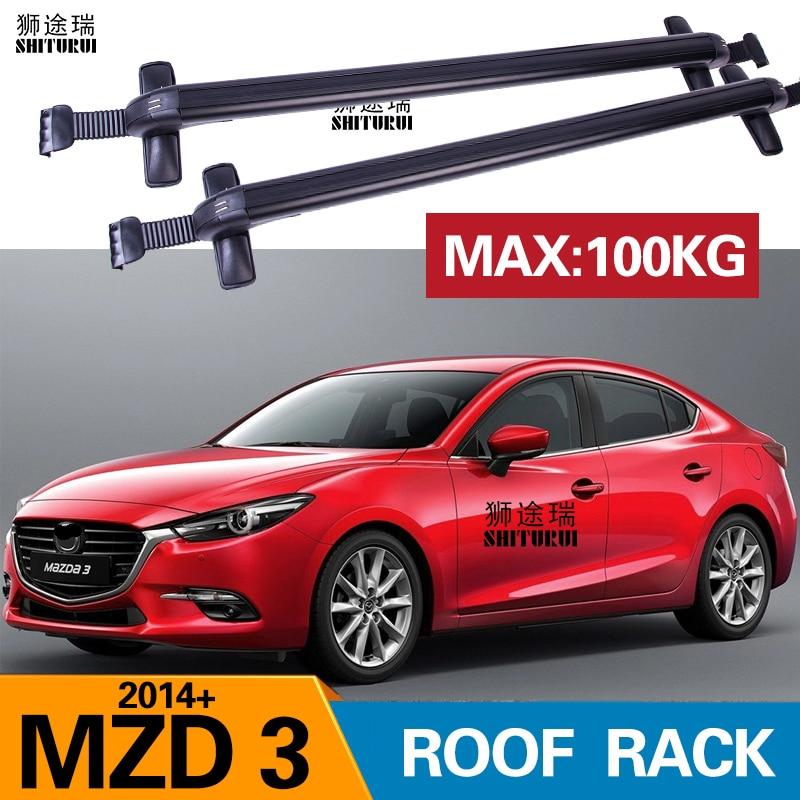for mazda 3 axela 4 dr sedan hatchback 2014 2019 2018 bars with locking aluminum alloy with luggage box bike rack sport roof