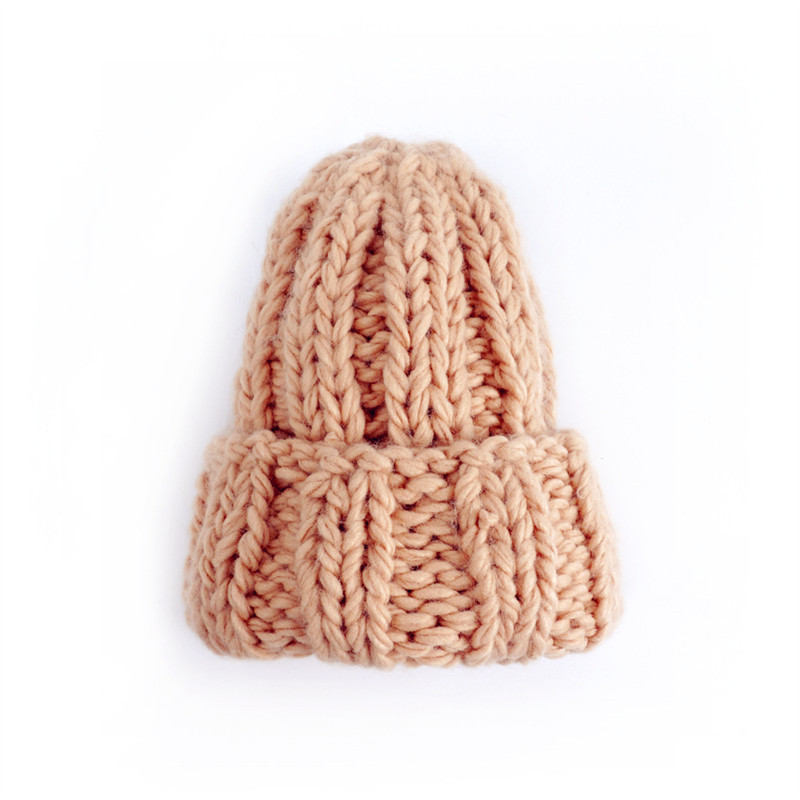 Women Winter Knitted Beanies Hat Thick Soft Warm Coarse Large Knitted Solid Hat Female Ice Ski Bonnet Skullies Beanies Hat Cap 208