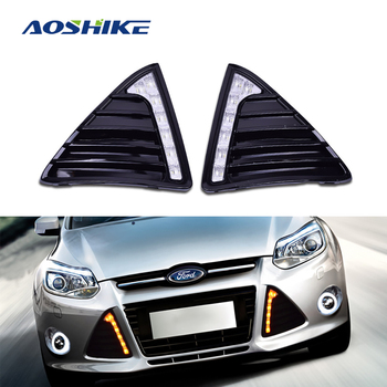 AOSHIKE 2PCS 12V 2012~2015 Daytime Running Light DRL LED Fog Lamp Cover With Yellow Turning Signal Functions For Ford