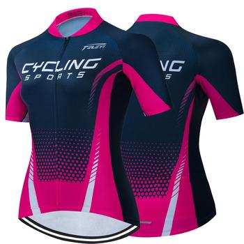 Nowa koszulka kolarska Team kobiety lato z krótkim rękawem koszulka rowerowa MTB Maillot Ciclismo wyścigi na świeżym powietrzu rower sportowy koszula tanie i dobre opinie ETIXXL CN (pochodzenie) POLIESTER SHORT WOMEN TELEYI summer Wiosna AUTUMN Koszulki Zamek na całej długości Cycling Dobrze pasuje do rozmiaru wybierz swój normalny rozmiar