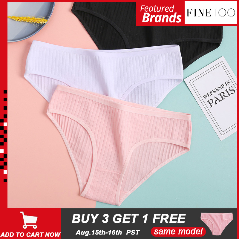 FINETOO Female Underwear Panty Briefs Sexy Lingerie Soft Girls Women's M-XL Cotton Solid-Color