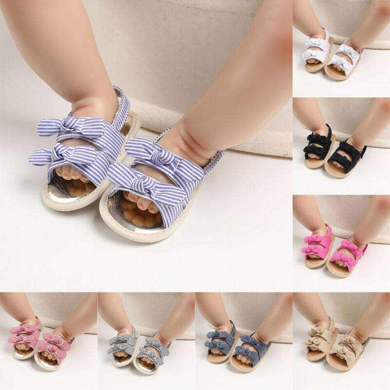PUDCOCO Fashion Infant Baby Girl Soft Sole Sandals Toddler Summer Shoes Bow-Knot Sandal 0-12M